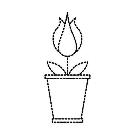 potted flower petal garden floral decoration vector illustration Illusztráció