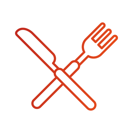 crossed fork and knife cutlery silverware kitchen restaurant vector illustration Illustration