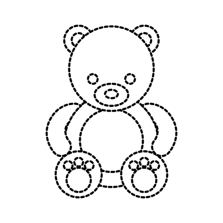 cute teddy bear sitting toy furry adorable vector illustration
