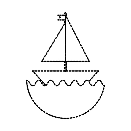 little sailing ship cartoon toy in water vector illustration