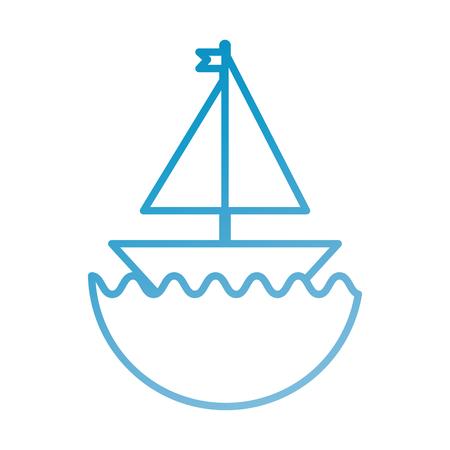 水のベクトル図に小さな帆船漫画グッズ