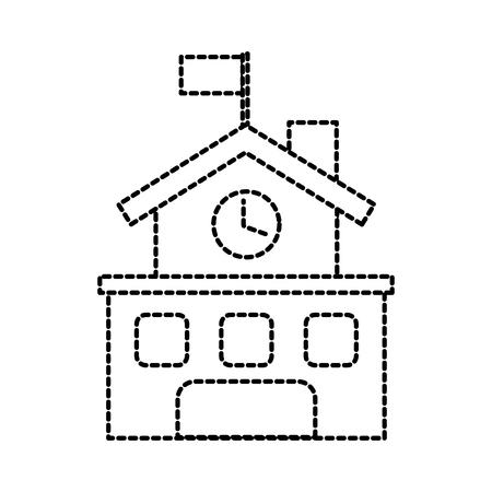 school building exterior clock flag facade vector illustration