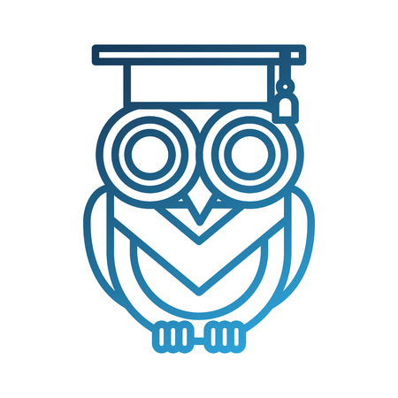 cute owl with graduation hat school learn vector illustration
