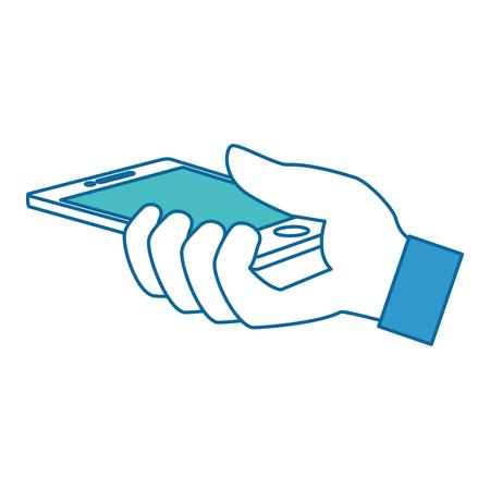 hand user with smartphone device isolated icon vector illustration design Ilustração