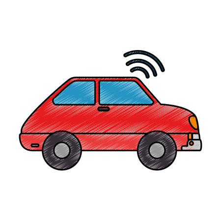 car vehicle with wifi signal vector illustration design Illustration