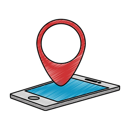 road position: smartphone with pointer location isolated icon vector illustration design Illustration