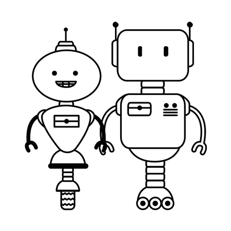electronic robots characters icon vector illustration design