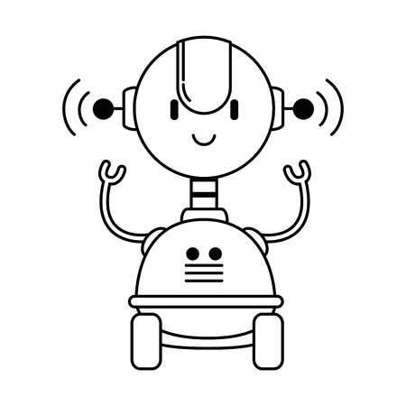 electronic robot with wheels vector illustration design