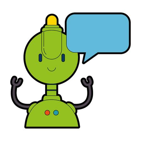 robot electrónico con diseño de ilustración de vector de personaje de burbuja de discurso Vectores