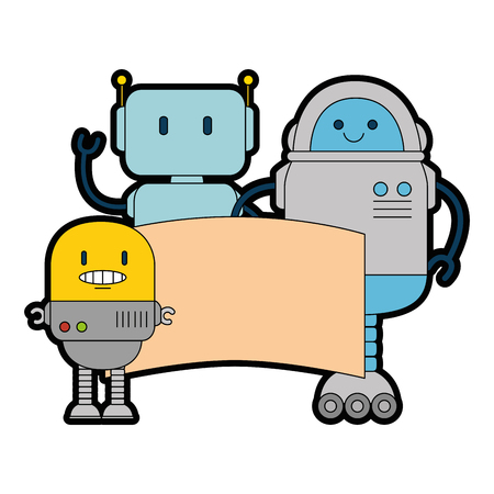 electronic robots with banner characters vector illustration design