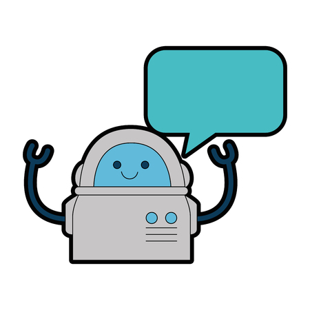 electronic robot with speech bubble character vector illustration design