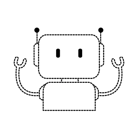 electronic robot character icon vector illustration design
