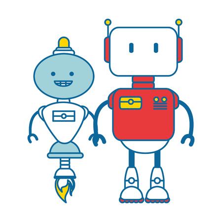 diseño de ilustración de vector de robots icono de personajes electrónicos Vectores