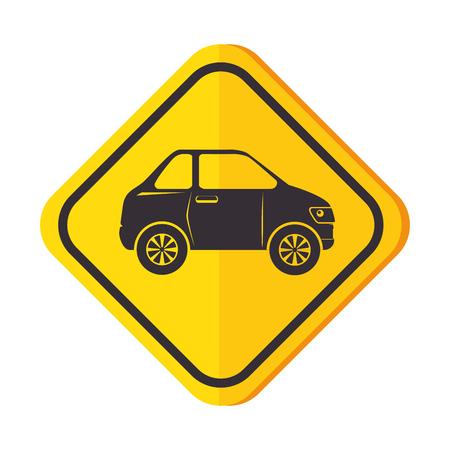 Señal de tráfico con diseño de ilustración vectorial de coche Foto de archivo - 87745408