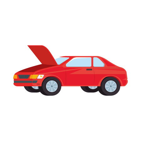 car with open hood vector illustration design