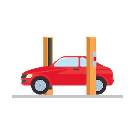 car with assembling machine vector illustration design