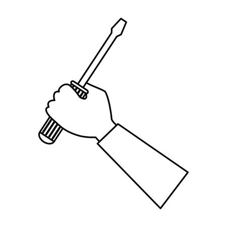hand with screwdriver tool isolated icon vector illustration design Stock Vector - 87745129