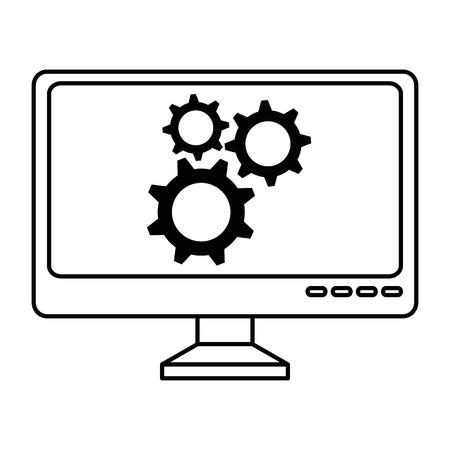 기어 컴퓨터 벡터 일러스트 디자인으로 컴퓨터 디스플레이