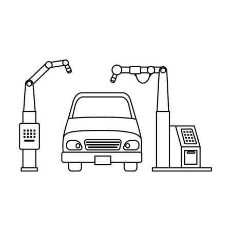 Auto mit Montage-Maschine-Vektor-Illustration-design Standard-Bild - 87745139
