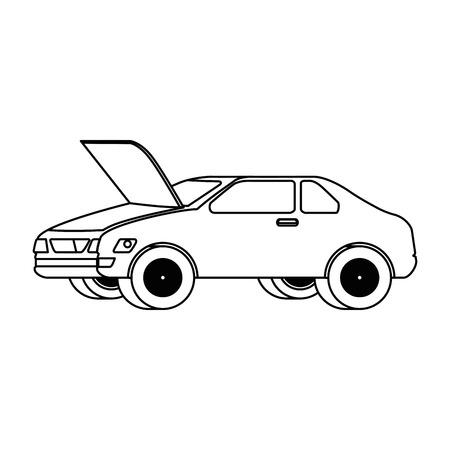 voiture avec capot ouvert vector illustration design