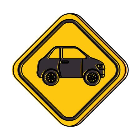 Señal de tráfico con diseño de ilustración vectorial de coche Foto de archivo - 87747015