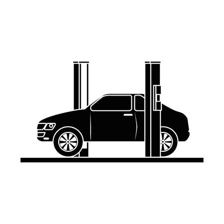 Auto mit Montage-Maschine-Vektor-Illustration-design Standard-Bild - 87747053