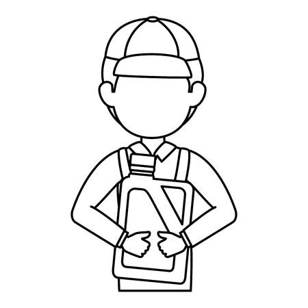 mechanic with gallon avatar character vector illustration design