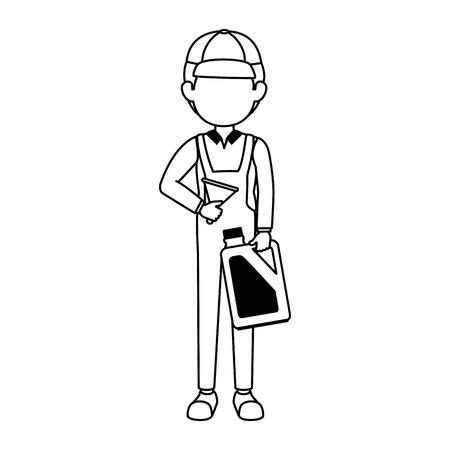 mechanic with gallon avatar character vector illustration design Stock Vector - 87747408