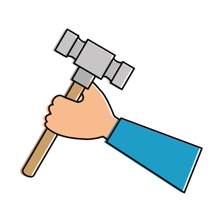 hand with hammer tool isolated icon vector illustration design