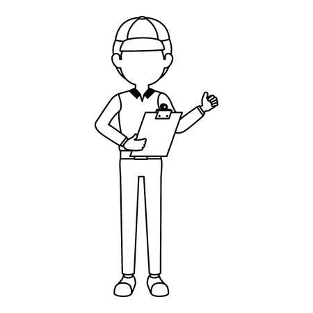 delivery worker with clipboard avatar character vector illustration design Illustration