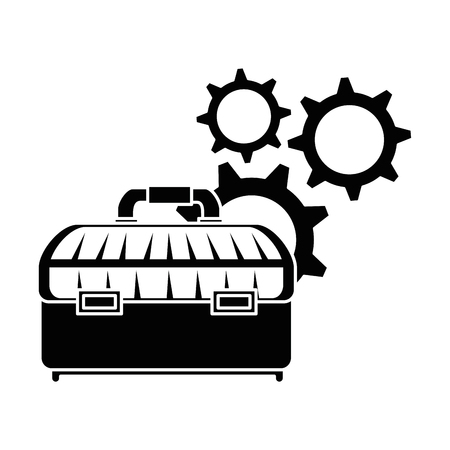 tool box with gears vector illustration design