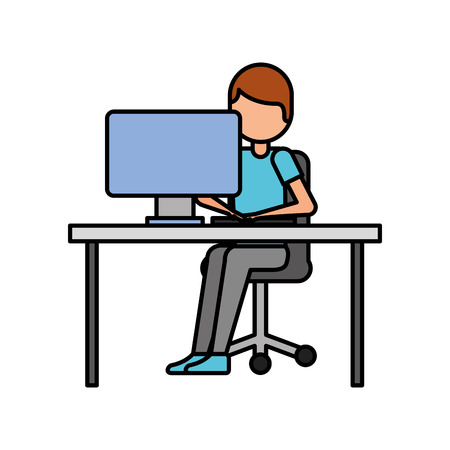 person working on computer programming or coding concept vector illustration Çizim