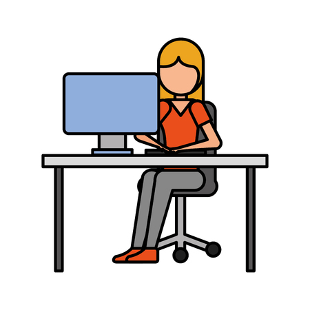 girl sitting working laptop program technology vector illustration