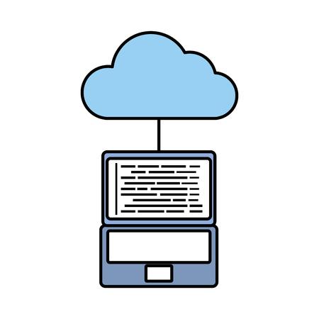 cloud computing laptop programming code storage vector illustration