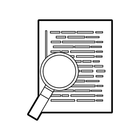document webpagina vergrootglas ontwikkelaar taal vector illustratie Stock Illustratie