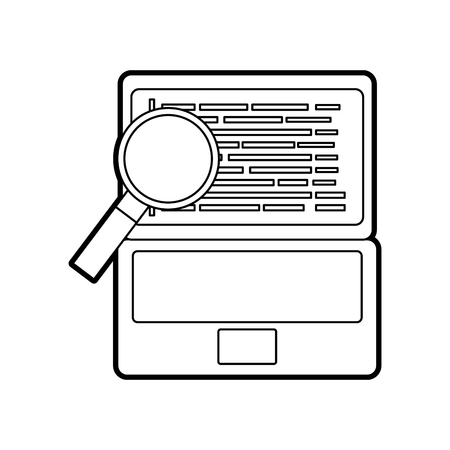 programming code web site development laptop with maginifier vector illustration Illustration