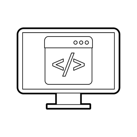 Programming screen with script code Illustration