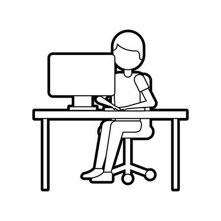 person working on computer programming or coding concept vector illustration 向量圖像