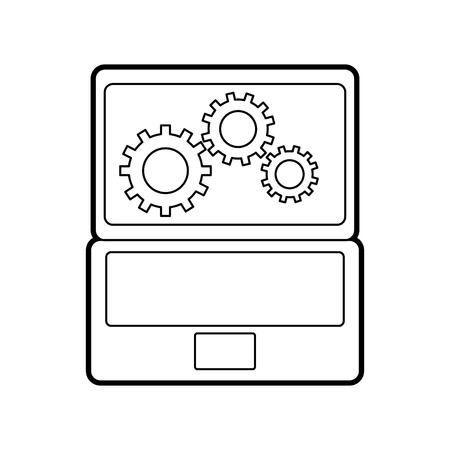 랩톱 및 기어 하드웨어 기술 아이콘 일러스트