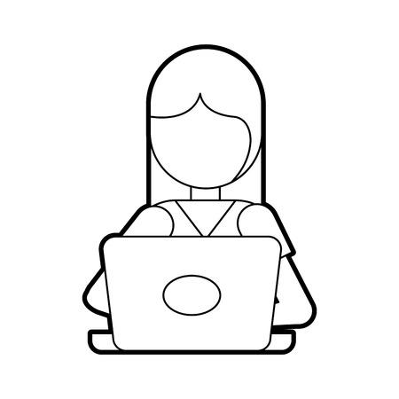 Cartoon girl with laptop