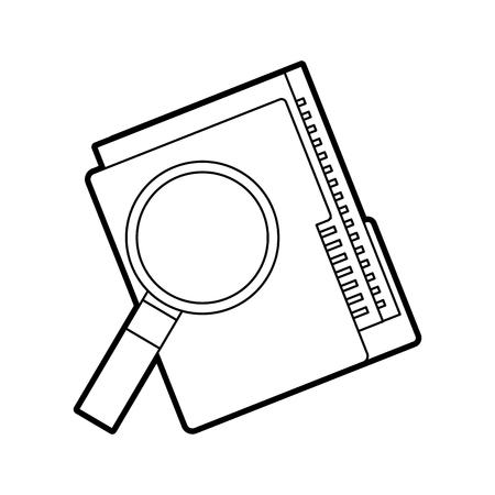 폴더 파일 및 돋보기 기술 데이터 저장소 벡터 일러스트 레이션