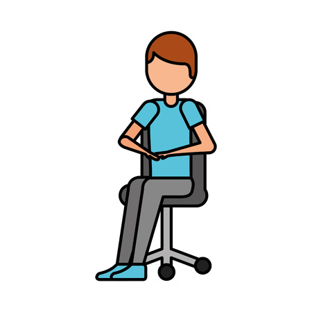 young man sitting in office chair thinking vector illustration