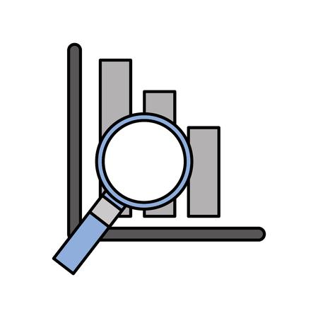 バー グラフのベクトル図と財務分析ビジネス分析拡大鏡ガラス  イラスト・ベクター素材