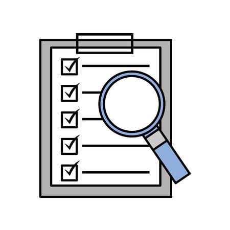 돋보기 기술 벡터 일러스트와 클립 보드 검사 목록 보고서