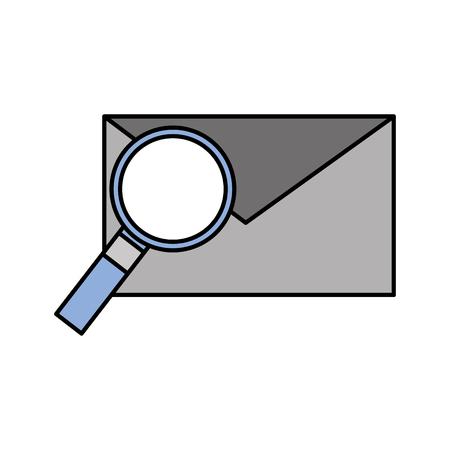 e-mail en vergrootglas envelopbericht vinden vectorillustratie Stock Illustratie