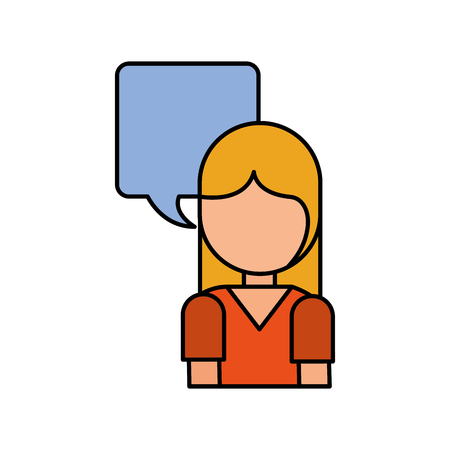 girl with speech bubble dialog conversation talk vector illustration