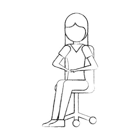 Frau, die im Bürostuhl mit lächelndem Gesicht sitzt und Zuschauervektorillustration betrachtet Standard-Bild - 87757500