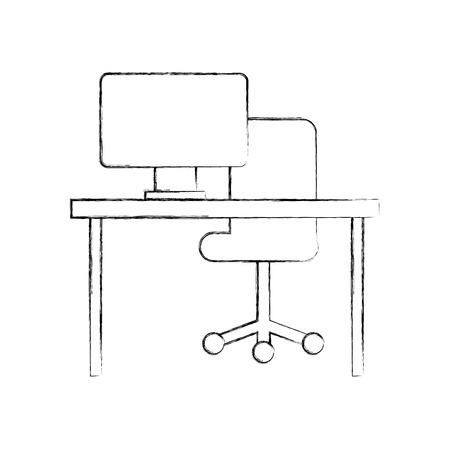 Asiento De Escritorio.Ilustracion De Vector De Escritorio De Escritorio De Asiento De Escritorio De Oficina De Escritorio