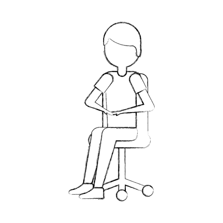 young man sitting in office chair thinking vector illustration Stock Vector - 87758740