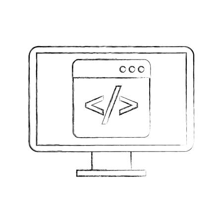 스크립트 코드 컴퓨터 벡터 일러스트와 함께 프로그래밍 창